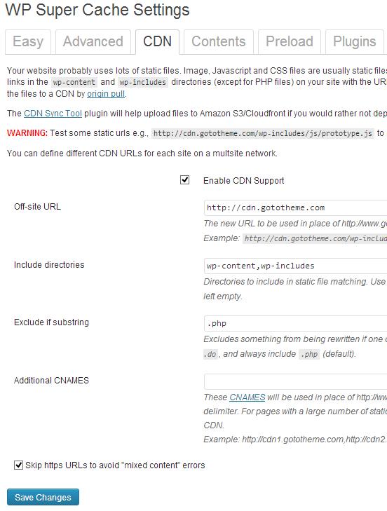CDN configuration in WP Super cache
