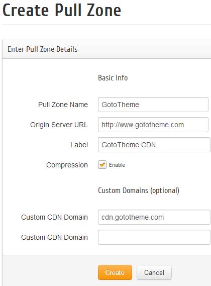 Create a Pull Zone in Max CDN